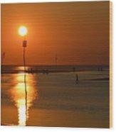 Sunset At Rock Harbor Wood Print