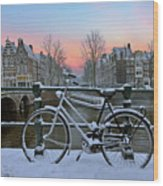 Sunset In Snowy Amsterdam In The Netherlands In Winter Wood Print