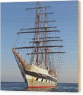 Tall Ship Anchored Off Penzance Wood Print