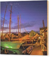 Tall Ships And Yahts Moored In Newport Harbor Wood Print