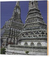 Temple Detail In Bangkok Thialand Wood Print