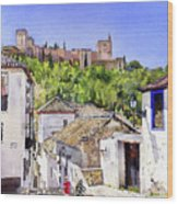 The Alhambra From The Albaicin Wood Print