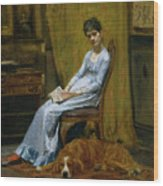 The Artist's Wife And His Setter Dog Wood Print