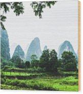 The Beautiful Karst Rural Scenery In Spring Wood Print