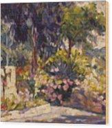 The Flowered Terrace Wood Print