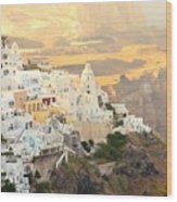 The Golden Hour In Fira Wood Print