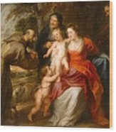 The Holy Family With Saints Francis And Anne And The Infant Saint John The Baptist Wood Print
