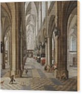The Interior Of The Onze Lieve Vrouwekerk In Antwerp Wood Print