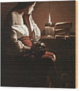The Magdalen With The Smoking Flame Wood Print