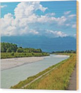 The River Rhine Between Liechtenstien And Switzerland Wood Print