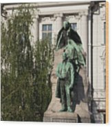 The Statue Of France Preseren And His Muse Wood Print