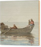 Three Boys In A Dory With Lobster Pots  Wood Print