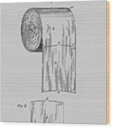 Toilet Paper Roll Patent 1891 Wood Print