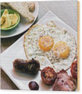 Traditional English British Fried Breakfast With Eggs Bacon And  Wood Print