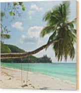 Tropical Beach At Mahe Island Seychelles Wood Print