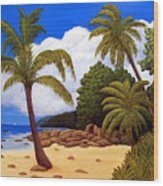 Tropical Island Beach Wood Print