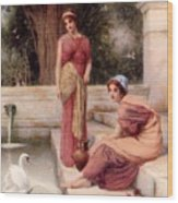 Two Classical Maidens And A Swan Henry Ryland Wood Print
