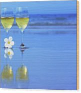 Two Glasses Of White Wine Wood Print by MotHaiBaPhoto Prints