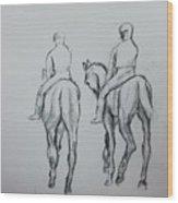 Two Horse Wood Print