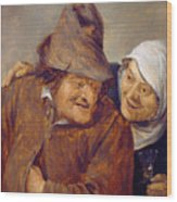 Two Peasants With A Glass Of Wine Wood Print