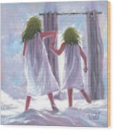 Two Sisters Jumping On The Bed  Wood Print
