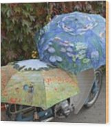 2 Umbrellas On Motorcycle  Wood Print