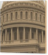 United States Capitol Building Sepia Wood Print