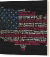 Usa Main Cities Flag Map Wood Print by Cedric Darrigrand