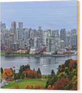 Vancouver In Fall Wood Print