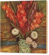 Vase With Red Gladioli  Wood Print
