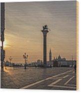 Venice At Sunset Wood Print