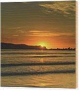 Vibrant Orange Sunrise Seascape Wood Print