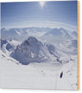 View From Summit Of Valluga, St Saint Anton Am Arlberg Austria Wood Print