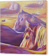 Horse World Wood Print