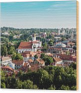 view of downtown in Vilnius city, Lithuanian Wood Print
