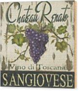 Vineyard Red Wine Sign Wood Print