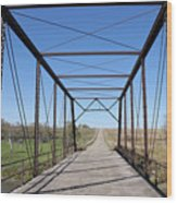 Vintage Steel Girder Bridge Wood Print