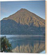 Volcano And Reflection Lake Atitlan Guatemala Wood Print