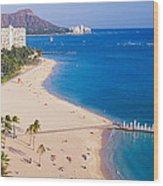 Waikiki Beach And Diamond Head Wood Print