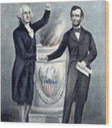 Washington And Lincoln Wood Print