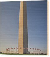Washington Dc Memorial Tower Monument At Sunset  Wood Print
