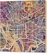 Washington Dc Street Map Wood Print
