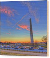 Washington Monument Sunset Wood Print