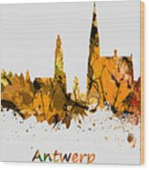 Watercolor Art Print Of The Skyline Of Antwerp In Belgium Wood Print