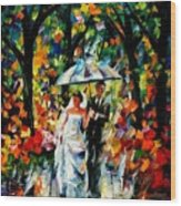 Wedding Under The Rain Wood Print