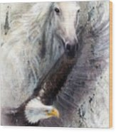 White Horse With A Flying Eagle Beautiful Painting Illustration Wood Print