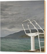 White Ladder Of A Diving Board At The Beach In Cres Wood Print
