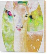 White-tailed Virginia Deer Fawn Wood Print