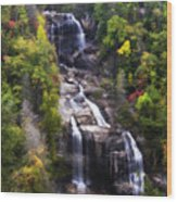 Whitewater Falls In Nc Wood Print