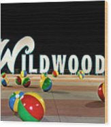 Wildwood's Sign At Night On The Boardwalk  Wood Print